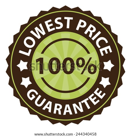 100 percent lowest price guarantee on green vintage, retro sticker, badge, icon, stamp isolated on white  - stock photo