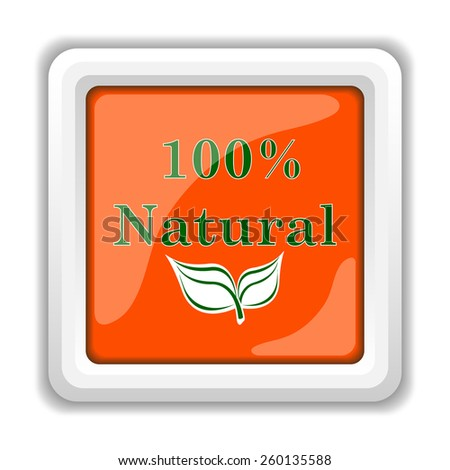100 percent natural icon. Internet button on white background.  - stock photo