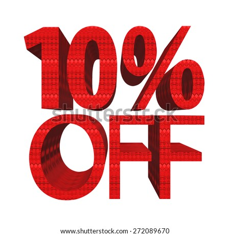 10 percent off. Concept 3D illustration. - stock photo