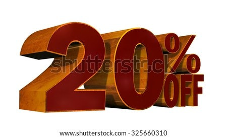 20 percent off - 3D metal render text on white background