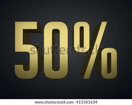 50 percent off 3d render symbol - stock photo