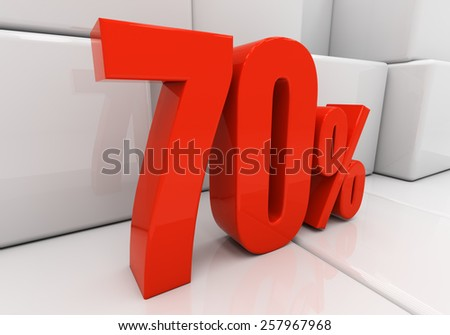 70 percent off. Discount 70. 3D illustration - stock photo