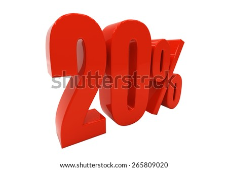 20 percent off. Discount 20. 3D illustration - stock photo
