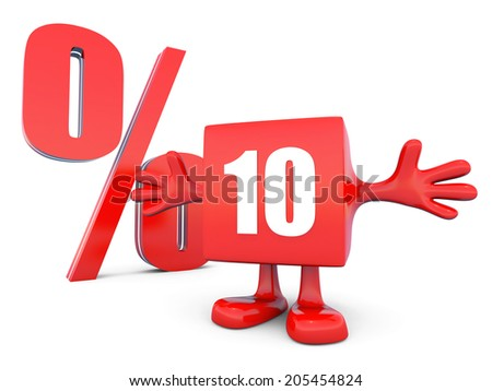 10 Percent off discount happy red glossy cube - stock photo