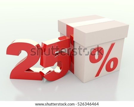 25 percent off. Gift discount 3D render