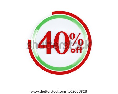 40 percent off glass isolated on white background - stock photo