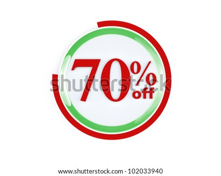 70 percent off glass isolated on white background