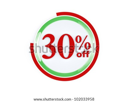 30 percent off glass isolated on white background