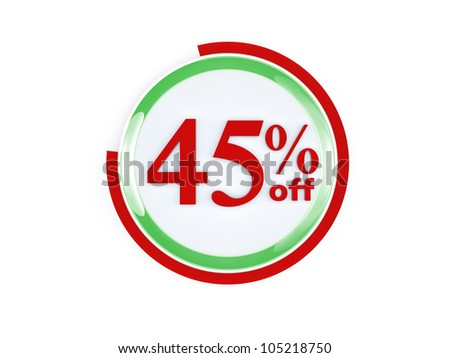 45 percent off glass isolated on white background