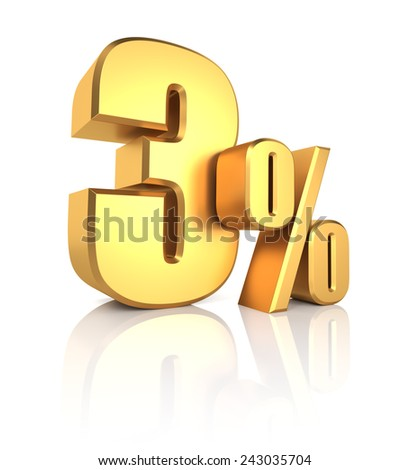 3 percent off. Gold metal letters on reflective floor. White background. Discount 3d render