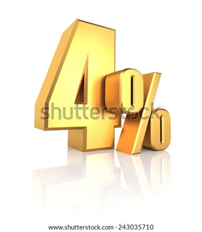4 percent off. Gold metal letters on reflective floor. White background. Discount 3d render - stock photo
