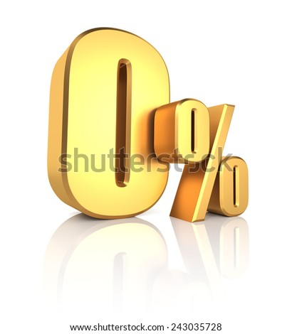 0 percent off. Gold metal letters on reflective floor. White background. Discount 3d render - stock photo