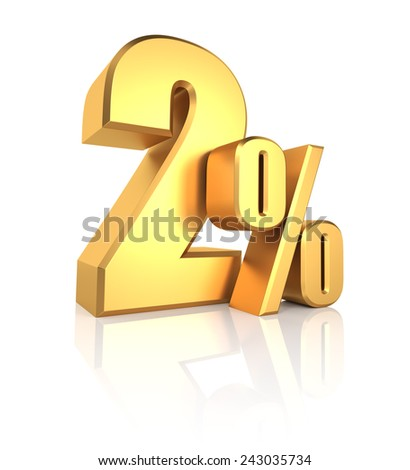 2 percent off. Gold metal letters on reflective floor. White background. Discount 3d render - stock photo