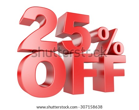 25 percent off icon isolated on white background. - stock photo