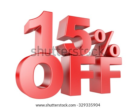 15 percent off icon isolated on white background. - stock photo