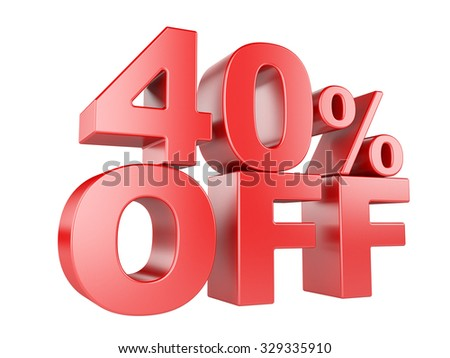 40 percent off icon isolated on white background. - stock photo