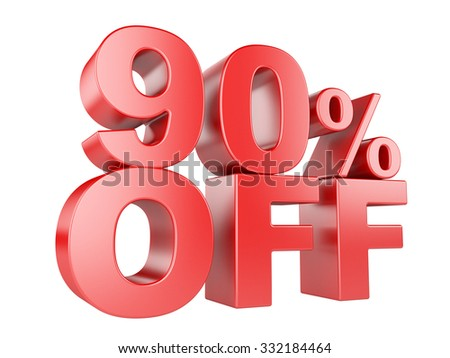 90 percent off icon isolated on white background. - stock photo