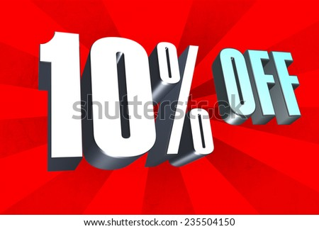 10 Percent Off in 3D text. - stock photo