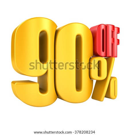 80 percent off in yellow letters 3d render on a white background. - stock photo