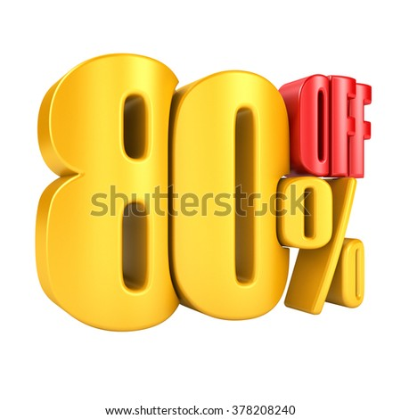 80 percent off in yellow letters 3d render on a white background.