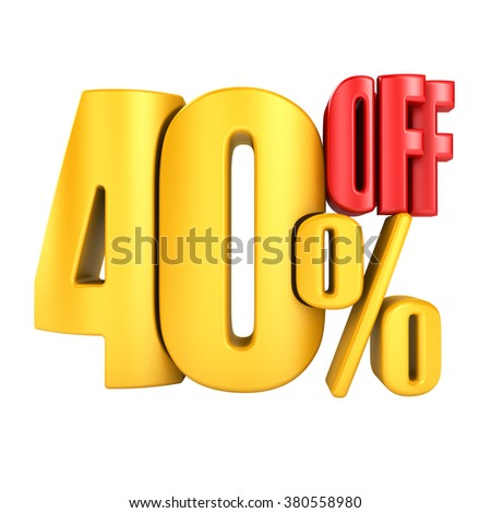 40 percent off in yellow letters 3d render on a white background. - stock photo
