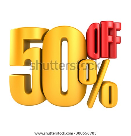 50 percent off in yellow letters 3d render on a white background.