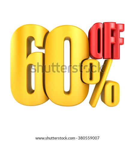 60 percent off in yellow letters 3d render on a white background.