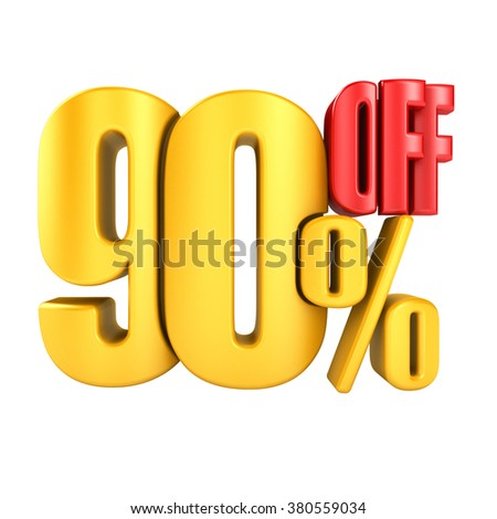 90 percent off in yellow letters 3d render on a white background.