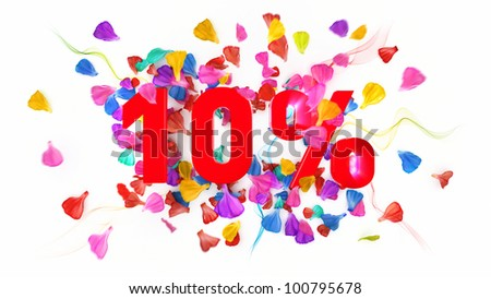 10 percent off on white isolated background full with colored petals - stock photo
