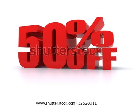 50% Percent off promotional sign - stock photo