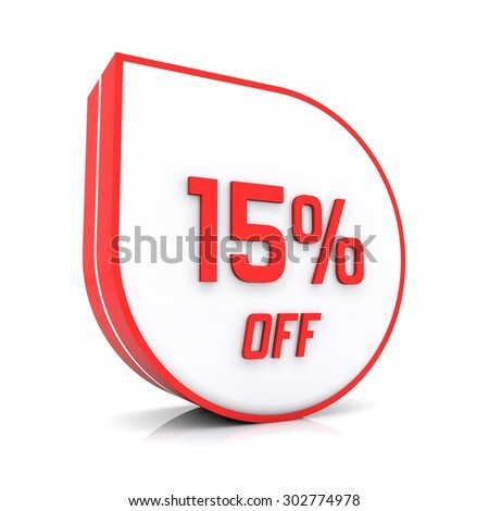 15 percent off red icon - stock photo