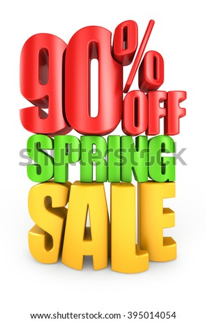90 percent off spring sale 3d text isolated over white background - stock photo