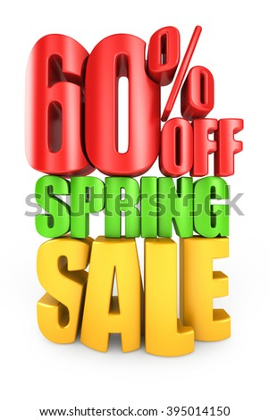 60 percent off spring sale 3d text isolated over white background - stock photo