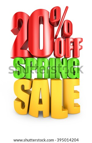 20 percent off spring sale 3d text isolated over white background - stock photo