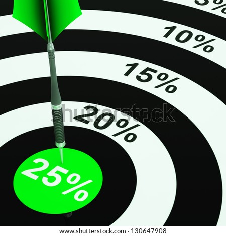 25 Percent On Dartboard Showing Won Reduction Or Offers - stock photo