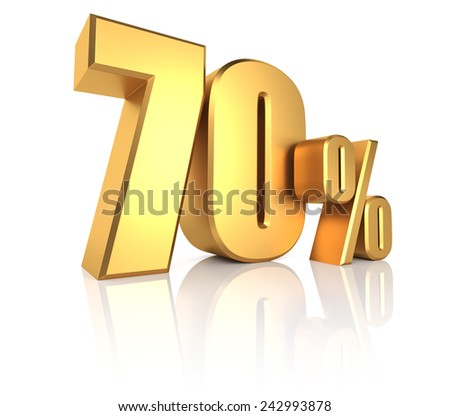 70 percent on white background. 3d render golden metal discount