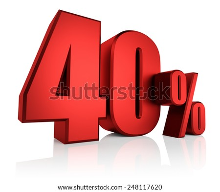 40 percent on white background. 3d render red discount - stock photo