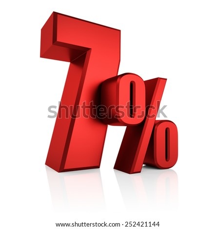 7 percent on white background. 3d render red discount - stock photo