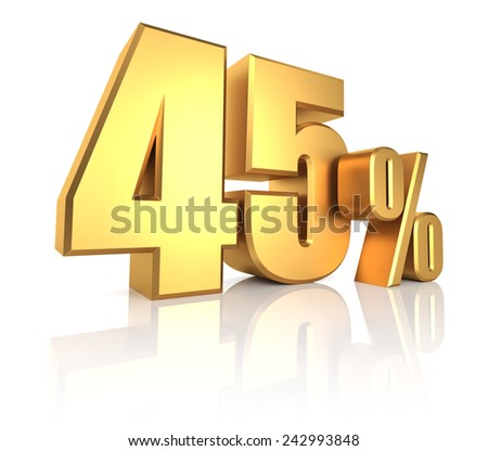 45 percent on white background. 3d rendering gold metal discount - stock photo