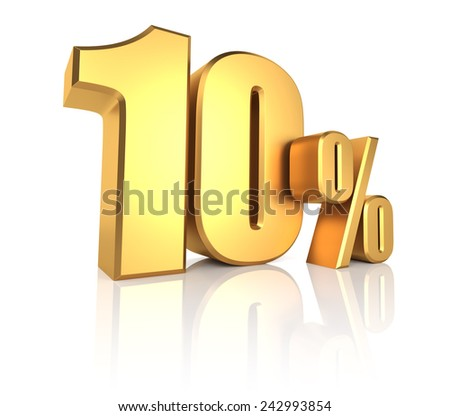 10 percent on white background. 3d rendering gold metal discount  - stock photo