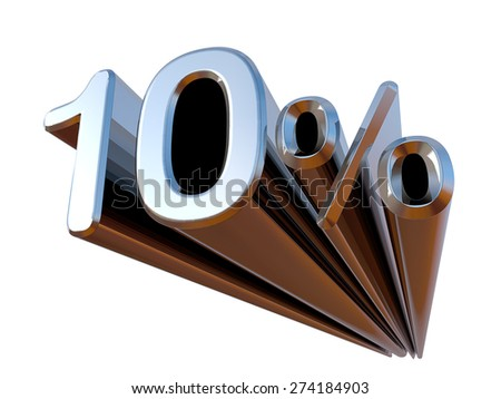 10 percent on white background. 3d rendering  metal, Chrome discount
