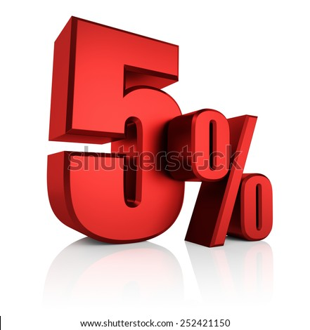 5 percent on white background. 3d rendering red discount - stock photo