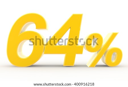 64 percent on white background illustration 3D rendering