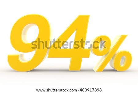 94 percent on white background illustration 3D rendering
