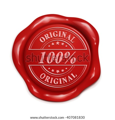 100 percent original red wax seal over white background