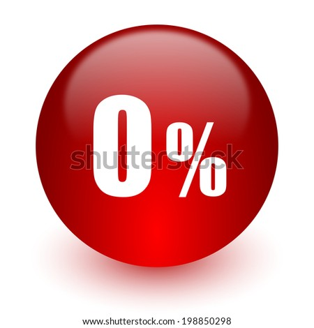 0 percent red computer icon on white background - stock photo