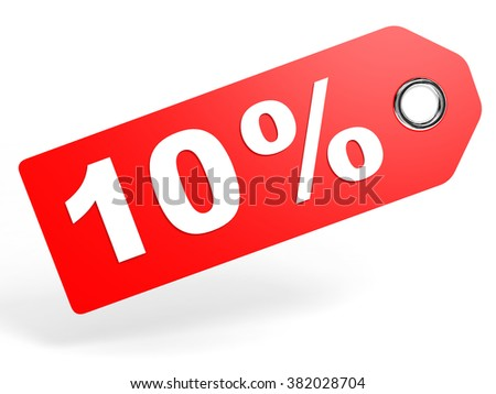 10 percent red discount tag on white background. 3D illustration. - stock photo