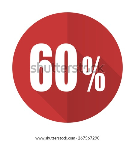 60 percent red flat icon sale sign  - stock photo