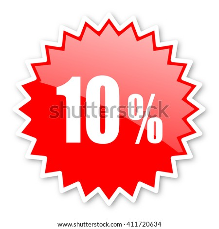 10 percent red tag, sticker, label, star, stamp, banner, advertising, badge, emblem, web icon - stock photo