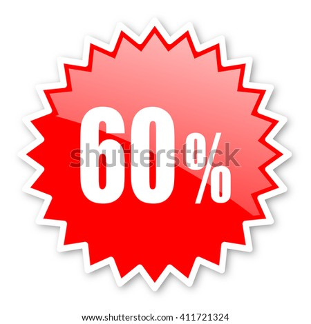 60 percent red tag, sticker, label, star, stamp, banner, advertising, badge, emblem, web icon - stock photo